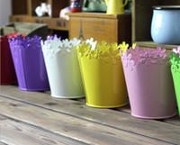 barrel plant pots - Monochrome iron material barrels flower pot Lace metal pail to receive our r barrels