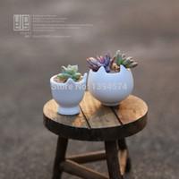 Wholesale White Cat Mini Ceramic Pots For Plants Desktop Garden Home Office Decor vaso de flor