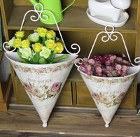 acting pots - Rural wall flowers Iron material hand painted flowers in the vase Lovely home decorative wall act the role ofing