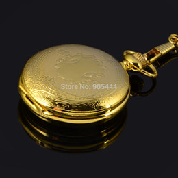 Wholesale-Full Hunter Roman numerals Gold Plated Mens Analog Skeleton Mechanical Hand Winding Pocket Watch