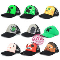 Wholesale Cartoon Miners game Mindcraft Pig Cow Ocelot Ball Caps Toy Hat Baseball MC JJ Sun Hats Peaked Cap Children Mesh Hat Kids Party