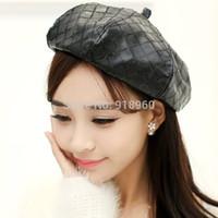 Wholesale Fashipn toco boina gorro fashion Sequins PU leather Beret for elegant women berets hats beanies hot cap