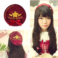 Cheap Wholesale-Japan Anime Card Captor Sakura Cosplay The Clow Hat Red bow-knot Cap