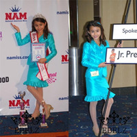Wholesale 2015 Fashion Custom Made Satin Girls Pageant Interview Suits Dresses With Long Sleeve Jacket Knee Length For Junior Teens