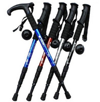 Cheap Wholesale-Adjustable Anti Shock Trekking Hiking Walking Stick Pole 51cm-110cm 0.35kg with Compass Nordic Walking mountaineering cane