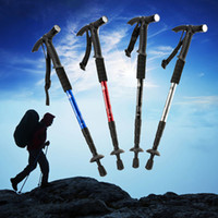 Cheap Wholesale-2015 Ultra-light Adjustable Telescopic Aluminum Alloy Outdoor Hiking Walking Canes Walking Sticks with Compass+Led Light
