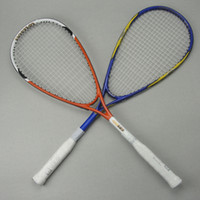 Wholesale squash racket squash racquet carbon aluminum alloy strung squash rackets colour orange blue come with bag