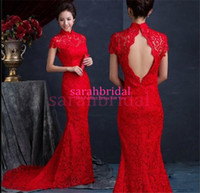 Wholesale 2015 Traditional Chinese Cheongsam Red wedding Evening Dresses For Women Sale Cheap Qipao Sexy Long Mermaid Toast Clothing Bridal Party Gown