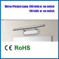 adjustable angle plate - w without switch LED White Mirror Picture Front light lamp Stainless steel plating process adjustable angle