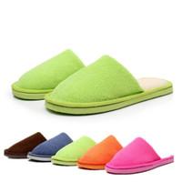 achat en gros de les femmes de gros pantoufles maison-Vente en gros-Candy Color Hommes Femmes Winter Chaud Chausson Indoor Chaussons Sandales en coton Chaussures Chaussures Chaussures Multicolore