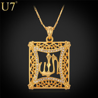 islamic necklace - Allah Pendant Vintage Jewelry Gift For Women Men Classic K Real Gold Plated Rhinestone Islamic Pendant Necklace P329
