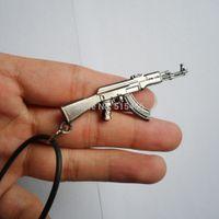 assault rifles accessories - Mini CS Assault Rifle Gun Charms AK47 Pendant Necklace Counter Strike AK Machine Gun Neck chain Accessory Xmas Gift