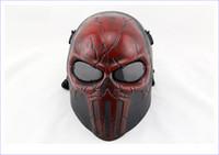 Proteger a paintball España-Al por mayor-Wargame Máscara de Airsoft Paintball del cráneo Mascarilla Facial Chastener Oído-protector de fiesta de Halloween CS Cosplay proteger la cara Masj