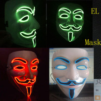 Wholesale EL Flashing fashion masks with red green blue El wire AA batttery operate party El masks with
