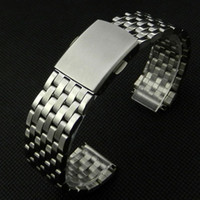 Wholesale mm Stainless Steel Silver Wrist Watch Strap Band With Fold Over Clasp With Push Botton