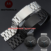 Wholesale Watch band mm New Men Silver Black Stainless Steel Watchbands for Motorola Moto Smart watch band moto360