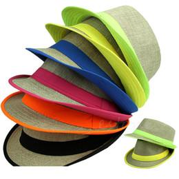 Wholesale-Free Shipping Hot Fashion Unisex Summer Beach Sun Straw Casual Jazz Dance Hat Trilby Linen Cap