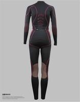 Wholesale SANTIC Women Base layer Thermal Fleece windproof Jersey Comfortable Outdoor Sports Openwork Underwear Suit Pants Set Size S L