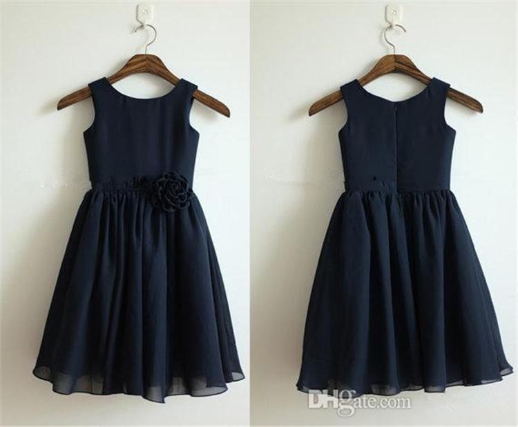 2016 Navy Blue Chiffon Flower Girl Dress Flower Baby Girl
