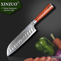 Wholesale XINZUO quot inch Japanese VG Damascus steel kitchen knives sharp chef knives santoku knife with wood handle free