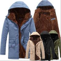 canada - Fall New Winter Casual Canada Mens Fur Collar Coat Black Khaki Outwear Coats Military Man Winter Jacket Men Parka Coats