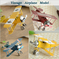 Wholesale pc Creative Vintage Metal Plane Model Iron Retro Aircraft Glider Biplane Aeromodelo Pendant Airplane Model Toys Home Decoration