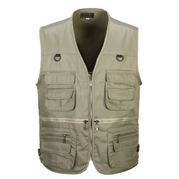 Wholesale Fall Summer Men Photographer Vest Multi Pockets Cheap Fly Fishing Vests Outdoor Hiking Waistcoat Walking Sleeveless Jacket L XL