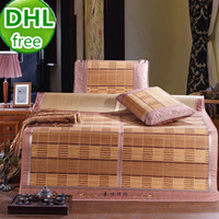 bamboo weaving yarn - DHL set summer style bamboo summer sleeping mat foldable colored king size protect a bed mattress cover