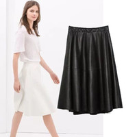 Wholesale new European style women s fashion wild personality street style solid color leather skirt big swing skirts women