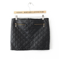 Wholesale Europe Branded Women Plaid quilted leather skirt zipper decoration PU leather short skirts
