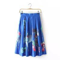 Wholesale Autumn new Korean fashion digital printing pleated skirt high waist skirts chiffon skirt skirts