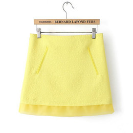 Wholesale Europe home the same paragraph summer new embossed jacquard organza dress stitching package hip skirt skirts lemon