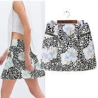 Wholesale spring and summer new European style neoprene print skirts A word short skirt