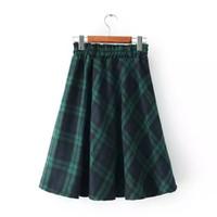 aa college - New winter art retro England College Wind dark green plaid skirts high waist skirt big pendulum Aa dress