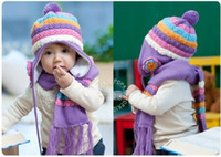 Cheap Wholesale-Delicate Gift Nice Baby Scarf+Hat Pineapple Cap Tassel Decoration Wrap Flower Earflap Headwear Winter Knitted Scarves 4 Colors