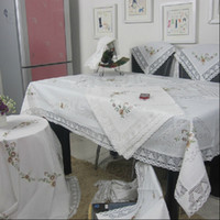 lace tablecloth - Hot Sale Elegant White Cotton Linen Embroidery Lace Tablecloth Embroidered Table Cloth Linen Cover Home Decoration Textile