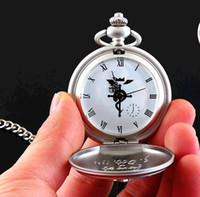 anime pocket watch - Low price good quality silver tone Fullmetal Alchemist Pocket Watch Cosplay Edward Elric with chain Anime boys Gift