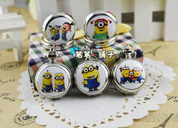 Wholesale classic Animated cartoon fashion New silver quartz MINIONS pocket watches necklace children A favorite gift pendant time clock