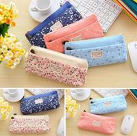 Cheap Wholesale-New Fashion Dual Zipper Pencil Case Cute Portable Makeup Bag Pencil Case Pen Bag