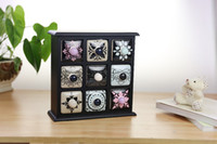 Wholesale creative jewerlery wood cabinet ceramic cabinet set cabinet and ceramic drawers for sundries storage