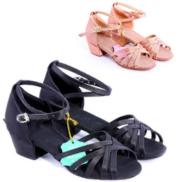 Wholesale-COMFORTABLE WOMENS GIRLS CHILDREN BALLROOM LATIN SALSA DANCE SHOES BLACK  FLESH # A2166