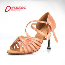 Wholesale-Dance Legend Satin Dance Shoes Female 3.3inches Heel 5belts Knot Latin Dance Shoes Ballroom Dancing Shoes Sandal Women Pumps