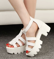 Wholesale New Summer Lady Strappy Platform Block Heel Chunky Pure Buckle Leather Peep Toe Ankle High Sandals Women Gladiator Shoes