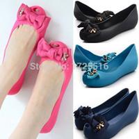 b t cotton - Shoes Women Real Sale Women s Sandals Melissa Style Summer Beach Round Toe Bow Cutout Jelly Rose Open Flat Rain Slipper