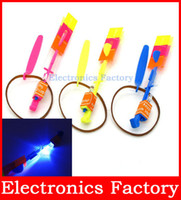 band flyer - Amazing Flying Frisbee Flyer Boomerang Toy Fun Arrow Umbrella Sling Helicopter Rubber Band Rocket Blue LED Light Children