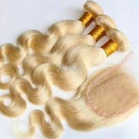 Cheap Wholesale-#613 Virgin blonde brazilian body wave hair 3pcs with 1pc 4x4 free part lace top closures 4pcs blonde virgin hair with closures