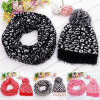 Wholesale New Winter Fashion Leopard knit Hats Sets For Women Hat Scarf Set For Women