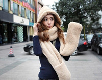 Wholesale New Fashion women thick warm winter hats scarfs gloves connected siut warm scarfs