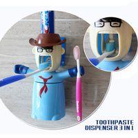 Wholesale Kids bathroom set automatic toothpaste dispenser toothbrush holder cartoon toothpaste squeezer in bathroom accessories