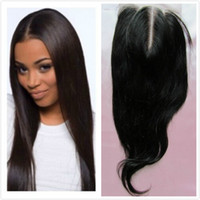 Cheap Wholesale-4X4 Brazilian Straight Hair Closure Middle Part  Three Part Top Lace Closures Bleached Knots Natural Color Can Dyed 7A 8 To 22